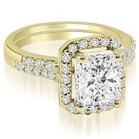 1.06 cttw. 14K Yellow Gold Emerald And Round Cut Halo Diamond Bridal Set,HI,SI1-2 HI, SI1-2