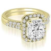1.06 cttw. 14K Yellow Gold Emerald And Round Cut Halo Diamond Bridal Set,HI,SI1-2