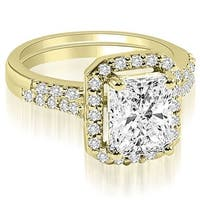 1.56 cttw. 14K Yellow Gold Emerald And Round Cut Halo Diamond Bridal Set,HI,SI1-2