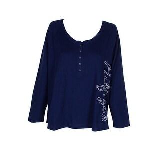 Tommy Hilfiger Plus Size Blue Vintage Printed Thermal Pajama Set 1X