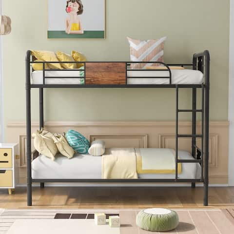 Twin over Twin Metal Bunk Bed,No Box Spring Needed.Black