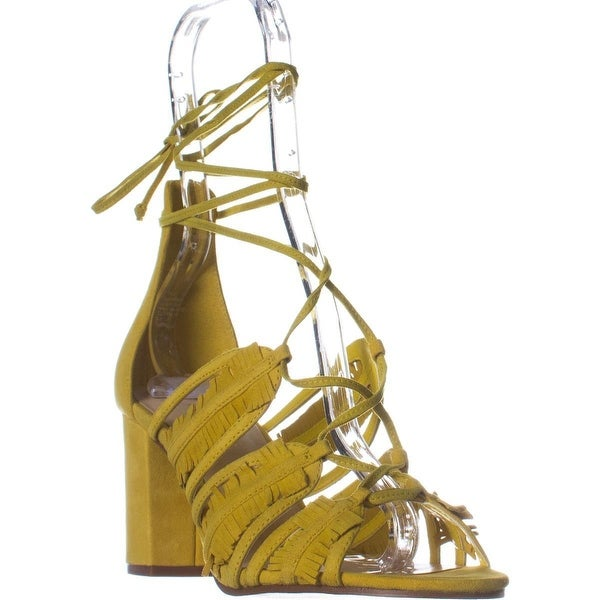 Nine West Genie Lace Up Block Heel Dress Sandals, Yellow