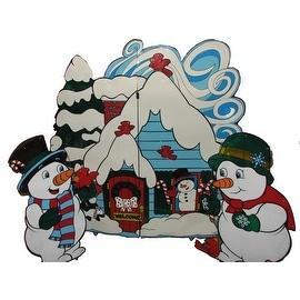 Lighted Three-Piece Snowmen with House Set