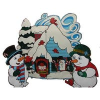 Lighted Three-Piece Snowmen with House Set