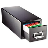 Mmf  Drawer Card Cabinet Holds 1 500 3 x 5 cards  7 3/4 x 18 1/8 x 7
