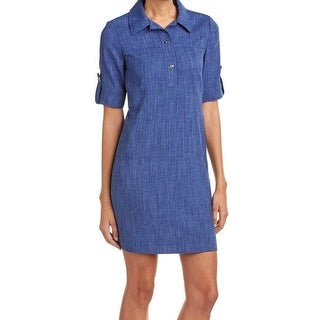 Tahari by ASL Blue Chambray Women's Size 8 Roll Tab Sleeve Shirt Dress