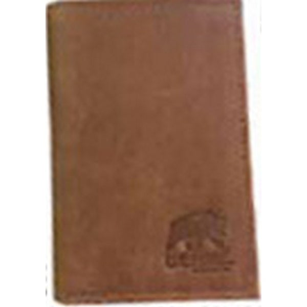 Berne Wallet Mens Leather Trifold Stitch Logo Embossed Tan