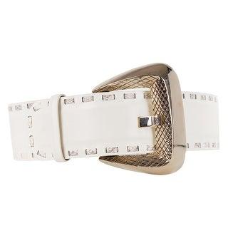 Roberto Cavalli White Snakeskin Stitched Wide Leather Belt