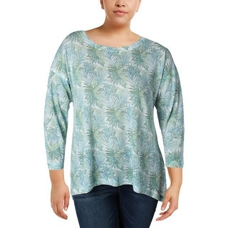Nally & Millie Womens Pullover Sweater Shimmer Scoop Neck