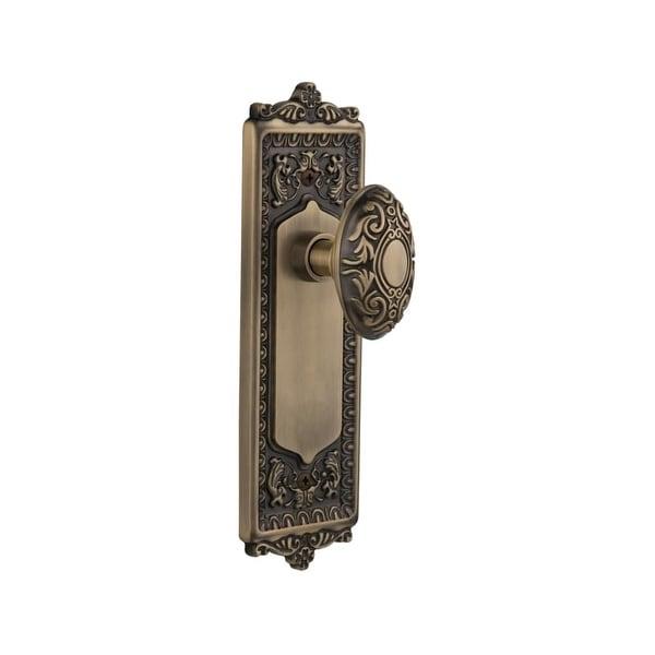 "Nostalgic Warehouse EADVIC_PSG_238_NK Victorian Solid Brass Passage Knob Set with Egg and Dart Rose and 2-3/8"" Backset"