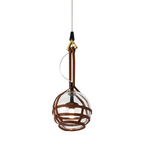 VONN Lighting Bari VAP2171AB 7-inch Integrated LED Pendant with Glass Shade