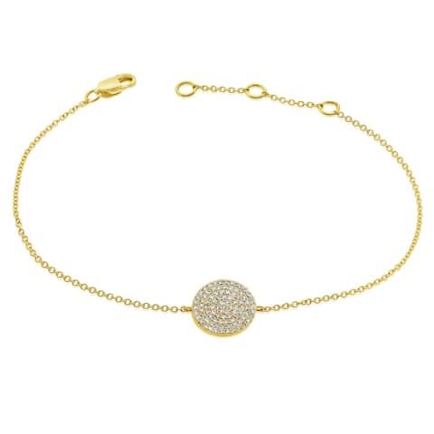 Diamond Pave Circle Disc Bracelet 1/4 ct. 14k Gold by Joelle Collection