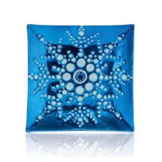 """13"""" Square Turquoise Blue Decorative Glass Christmas Plate with White Iridescent Snowflake Design"""