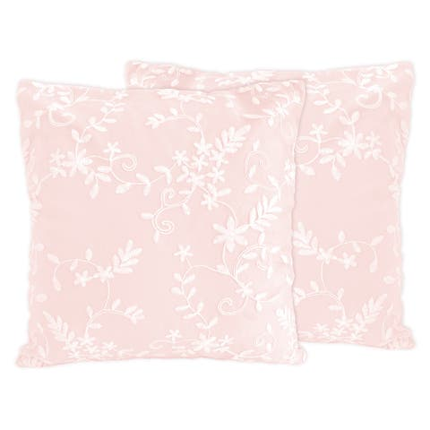 Pink Floral Vintage Lace 18in Decorative Accent Throw Pillows (Set of 2) - Blush Luxurious Elegant Princess Boho Shabby Chic