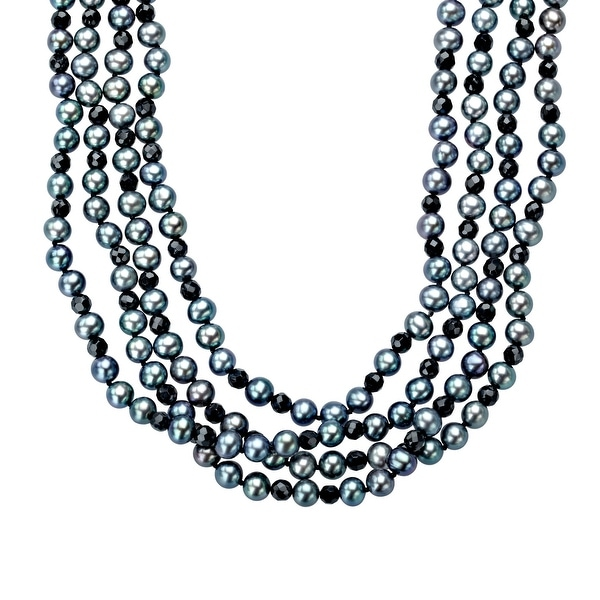 100-inch 5.5mm Grey Freshwater Pearl and 4mm Faceted Onyx Strand Necklace