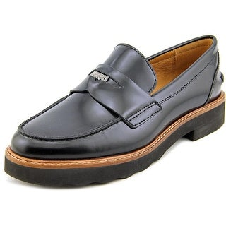 Coach Indie  Women  Round Toe Leather Black Loafer