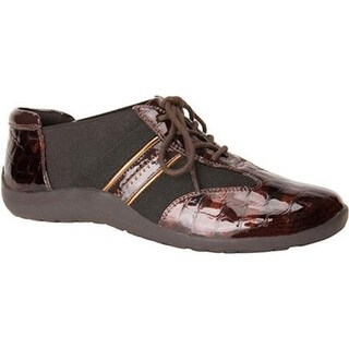 Ros Hommerson Women's Nancy Lace-Up Brown Croco Patent/Bronze Piping