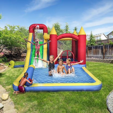 ALEKO Inflatable 6-In-1 Bounce House with Slide, Splash Pool, and Ball Pit - Multi-colored