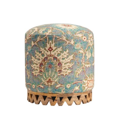 Grace Fabric Carved Stool