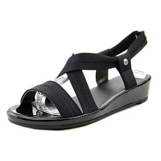 Life Stride Debutante Women Open Toe Canvas Black Wedge Sandal