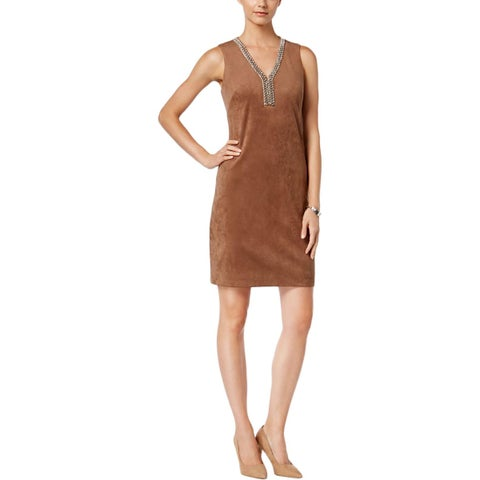 Jessica Howard Womens Petites Cocktail Dress Faux Suede Embellished