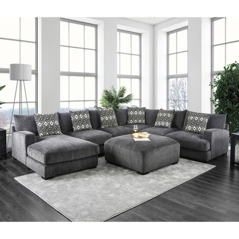 Furniture of America Cleo Modern Grey Chenille Modular Sectional