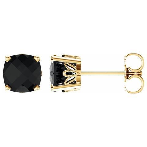 14K Yellow Gold Onyx Stud Earrings for Women