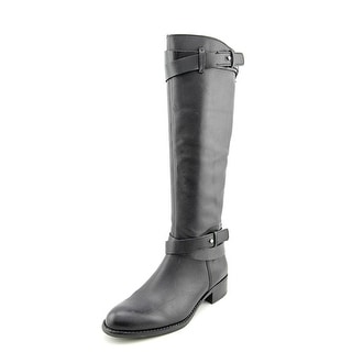 Franco Sarto Canary Women Round Toe Leather Black Knee High Boot