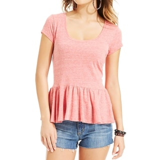 I'm in love with Derek Womens Juniors Peplum Top Jersey Heathered