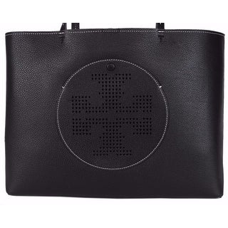 "Tory Burch Black and Oak Perforated Logo Purse Handbag Tote - 15"" x 11.5"" x 6"""