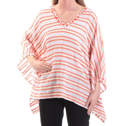 e3589c8e2ed68b MICHAEL KORS Womens Orange Sequined Striped Kimono Sleeve V Neck PONCHO Top  Size: XS