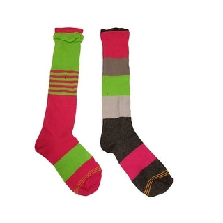 Gold Toe Womens Ruffle Colorblock Stripe Knee High Sock (Pack of 2) L(2-10.5) - Multi-Colored - large(2-10.5)