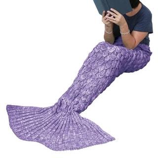 Mermaid Tail Blanket - Purple - Knit Afghan Throw Personal Fantasy Blanket