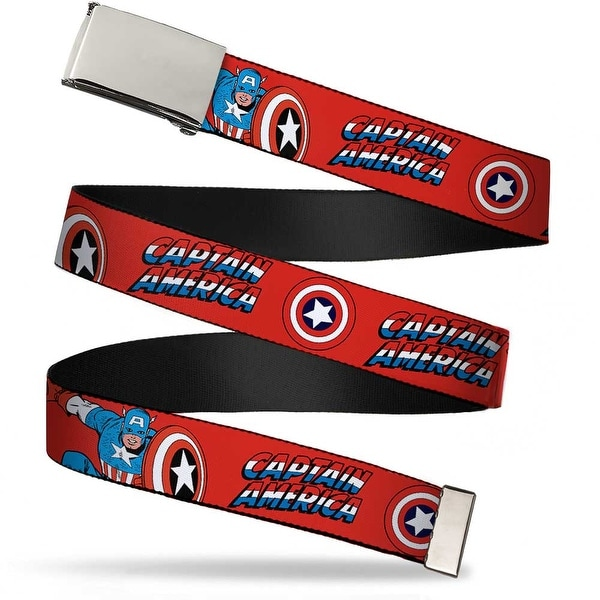 Marvel Comics Blank Chrome Buckle Captain America W Shield Text Repeat Web Belt