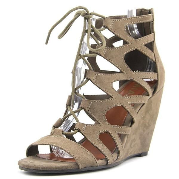 Mia Maris Women Open Toe Suede Brown Wedge Sandal