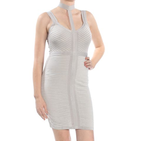 a6d360794a GUESS Womens Gray Sleeveless Scoop Neck Above The Knee Body Con Party Dress  Size  M