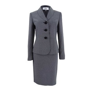 Le Suit Women's Dot-Print Shawl-Collar Skirt Suit (8, Black/White) - BLACK/WHITE - 8
