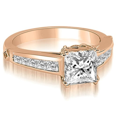 1.60 cttw. 14K Rose Gold Channel Princess Cut Diamond Engagement Ring