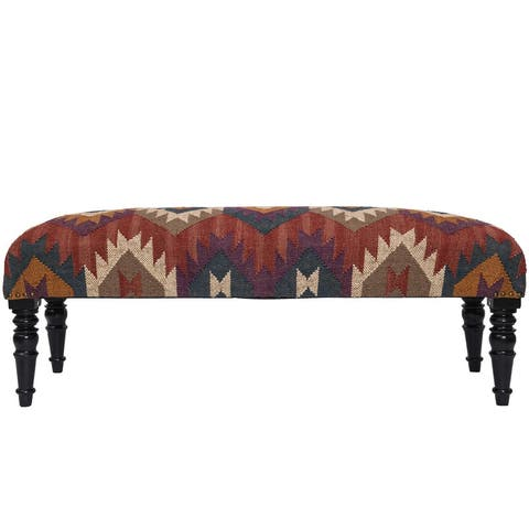 "Handmade Kilim Upholstered Bench (India) - 48""W x 16""L x 18""H"