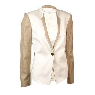 Calvin Klein Women's Woven Linen Trim Single Button Blazer - cream/khaki