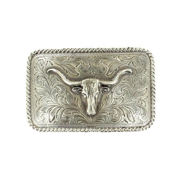 Nocona Western Belt Buckle Mens Rectangle Longhorn Rope Silver - 3 3/8 x 2/1/8