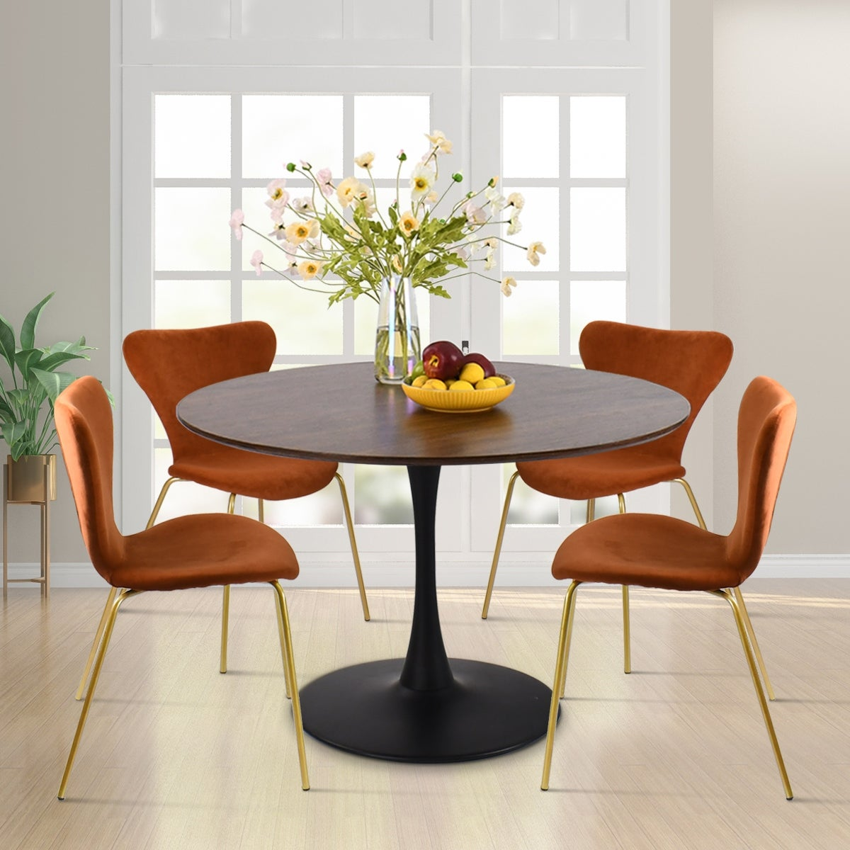 5 Piece Dining Set With Velvet Chair And Dining Table Overstock 32279530