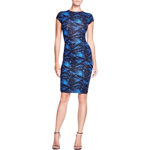 Aqua Womens Party Dress Printed Cap Sleeves