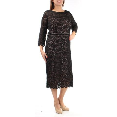 Womens Black Long Sleeve Below The Knee Evening Dress Size: 16W