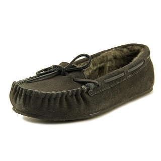Minnetonka Junior Trapper Women Moc Toe Leather Gray Slipper