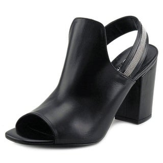 Delman Alexa Women  Open-Toe Leather Black Slingback Heel