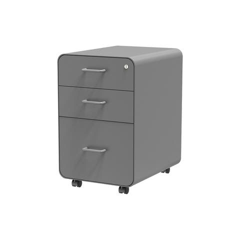 Monoprice Round Corner 3-Drawer File Cabinet - Gray With Lockable Drawer - Workstream Collection
