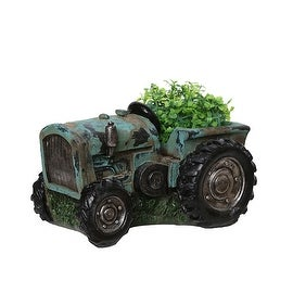 "12.25"" Distressed Teal & Black Tractor Outdoor Garden Patio Planter"