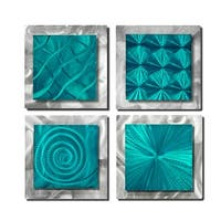 Statements2000 Set of 4 Teal Blue/Silver Metal Wall Art Accents by Jon Allen - 4 Squares Teal