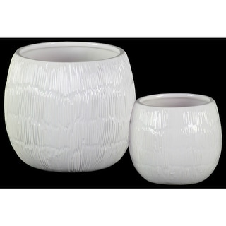 Round Shaped Ceramic Pots with Embossed Lines Design, Glossy White, Set of 2